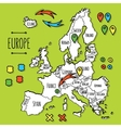 Cartoon style hand drawn travel map of Europe with vector image vector image
