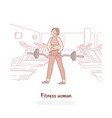 cheerful sportswoman working out with barbell vector image