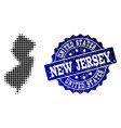 composition of halftone dotted map of new jersey vector image vector image