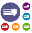 credit card and shield icons set vector image vector image