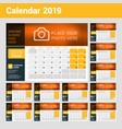 desk calendar for 2019 year design print template vector image vector image