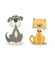 Dog and cat cute cartoon vector image vector image