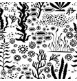 doodle seamless cartoon underwater background vector image vector image