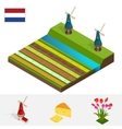 Dutch windmill and colorful tulips flowers vector image