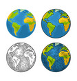 earth planet color vintage engraving vector image