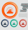 factory icon on red blue green orange buttons vector image vector image