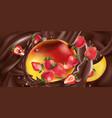 fresh mango with strawberries in liquid chocolate vector image vector image
