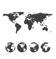 gray map world with globe icons vector image