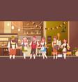 group of people drink beer in bar oktoberfest vector image