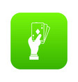 hand holding playing cards icon digital green vector image vector image
