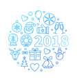 happy new year 2018 blue outline vector image