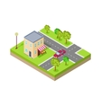 Isometric Icon of Two Storey Grocery Shop vector image