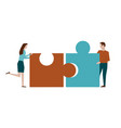 man and woman assemble puzzle on white vector image