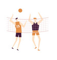 men playing volleyball - flat design style vector image
