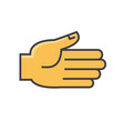 open hand gesture concept line icon vector image vector image