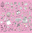 outlined hand drawn doodle set objects on the vector image