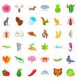 panda icons set cartoon style vector image vector image