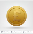 pound symbol on round coin with drop shadow vector image