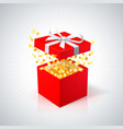 red gift box with golden confetti on white vector image vector image