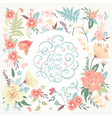 romantic card with cute flowers vector image