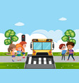 scene with kid bullying their friend on street vector image vector image