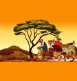 scene with many african animals on dry land vector image vector image