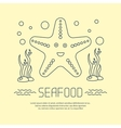 Seafood icon with starfish and seaweed vector image vector image