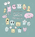 Set of cute cartoon monsters different colors and vector image vector image