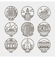set of line city circle icons vector image vector image