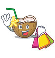 shopping cocktail coconut character cartoon vector image vector image