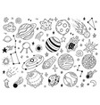 space doodles sketch space planets hand drawn vector image vector image