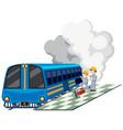 two machanics repairing train engine vector image vector image
