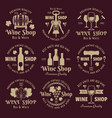 wine shop vintage emblems labels badges vector image vector image