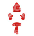 winter knitted set cap scarf and gloves vector image