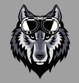 wolf head wearing a goggle vector image vector image