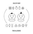 Allergens at breast feeding icons set in thin line vector image