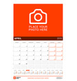 april 2019 wall calendar for 2019 year design vector image