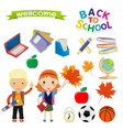 back to school design set of icons on a theme the vector image