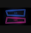 blue and pink neon frame with copyspace vector image vector image