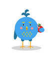 blue cartoon bird character in geometric shape vector image vector image