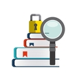 Book lupe and padlock icon Copyright design vector image