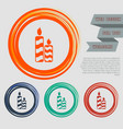candle icon on the red blue green orange buttons vector image