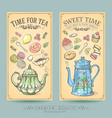 cards pastries and tea vintage posters vector image vector image
