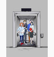 casual dressed men and women in elevator vector image