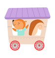 cheerful red cheeked squirrel driving toy wheeled vector image