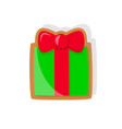 colorful gingerbread gift box with big bow vector image vector image