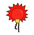 comic cartoon red light bulb vector image vector image