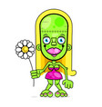 crazy zombie girl with a flower in her hands vector image vector image