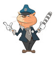 cute cat police officer cartoon vector image vector image