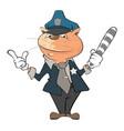 cute cat police officer cartoon vector image
